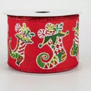 5 Yards Elf Shoes Christmas Wire Ribbon